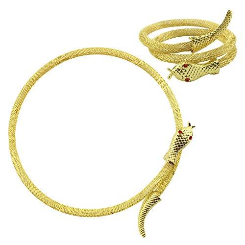 (com-four® 2er Set Halskette + Armband Schlange des Nils in Goldfarben (Schlange goldfarben - Kette+Armband))