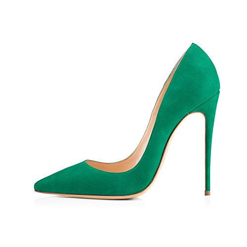 WYWQ Donna Fine Tacco Alto Banchetto Party Suede Punta a punta Stiletto Large Size 40414243444546 Single Shoes Pump Shallow Mouth PU Antiscivolo green
