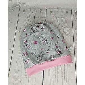 Baby Kinder Beanie Mütze Mädchen Hafenkitz Grau Rosa KU 34-54 cm handmade Puschel-Design