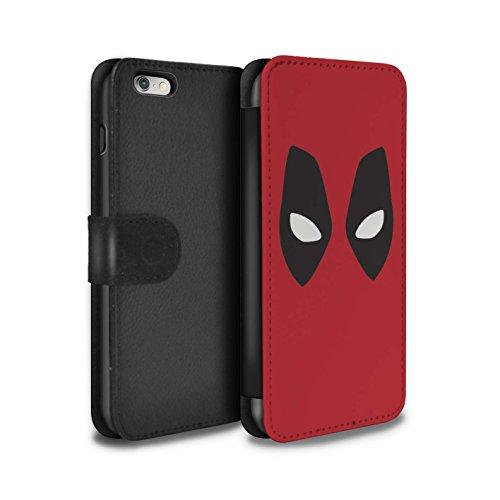 Stuff4® PU-Leder Hülle/Case/Tasche/Cover für Apple iPhone 6+/Plus 5.5 / Deadpool Maske Inspiriert Muster/Superheld Comic-Kunst Kollektion