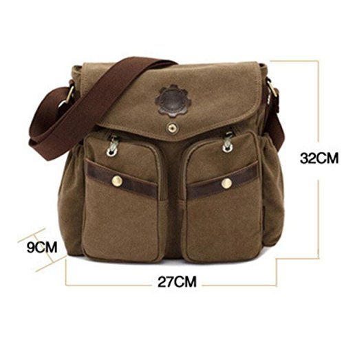 Fashion Casual Bag Leinentasche,Black ArmyGreen