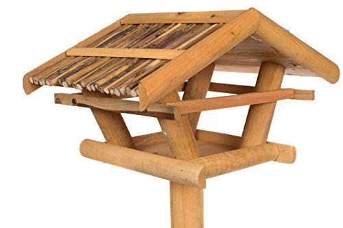 Vogelhaus 130040 mit Ständer Massivholz 100 cm hoch Futterkrippe Futterspender mit Reetdach Futterhaus