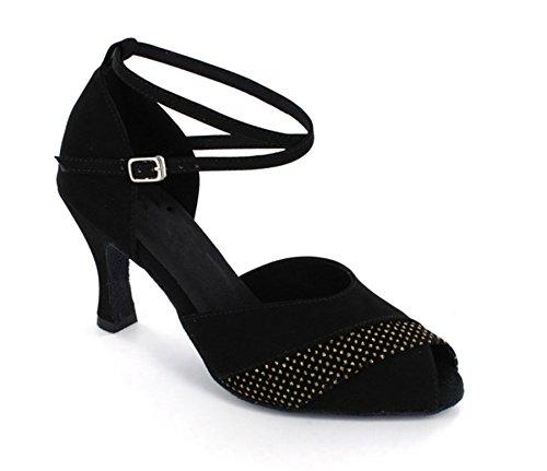 Minitoo da donna Dance Collection Studded Suede Salsa Tango ballo latino scarpe, nero (Black), 41