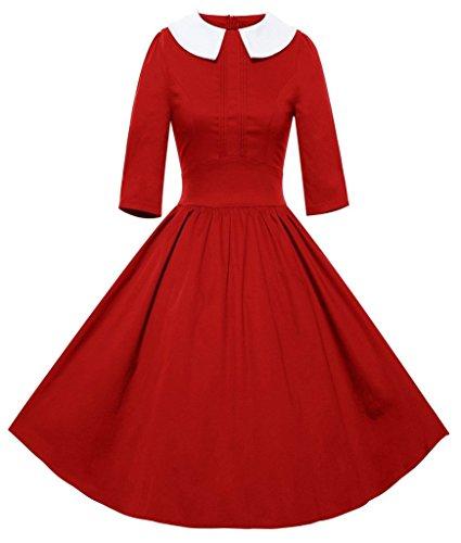 Eyekepper Robe Femme / Mademoiselle - Robes Vintage 50's 3/4 Sleeve Rouge