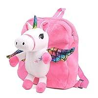 Cartoon Backpack for Kids, Cute Toddler Backpack Snack Travel Bag Preschool Shoulder Bag, Plush Animal Backpack Stuffed Doll Toy Gift for 1 2 3 4 5 Year Old Girls (Pink)