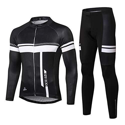 INBIKE Cyclisme Maillot Velo Manches Longues+ Pantalon VTT 3D Coussin Combinaison Tenue Cycliste...