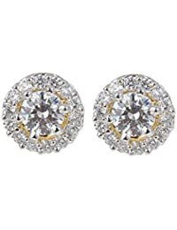 Dilan Jewels Gold Plated 925 Siver ) 0.50ct. Swarovski Stud Earrings With Jacket For Women