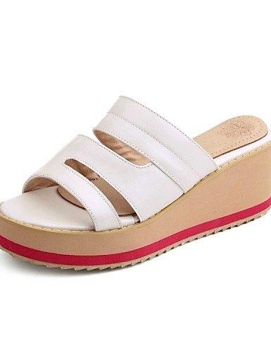 UWSZZ IL Sandali eleganti comfort Scarpe Donna-Mocassini-Casual-Infradito-Piatto-Sintetico / Finta pelle-Bianco / Argento / Dorato Silver