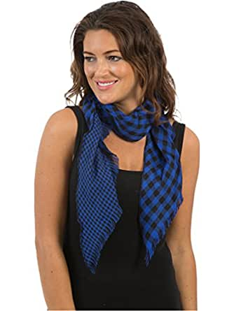 Womens/Ladies Check Printed Scarves, Size 155 x 104cms, Blue