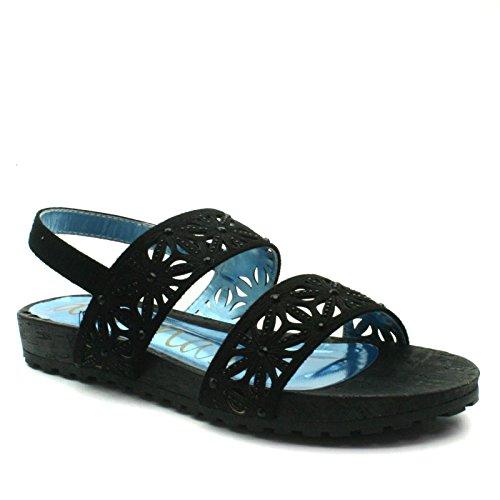 DW177 Divinas Barcelona Back Strap Sandal Flat for Ladies >     > Sandale avec sangle arrière et semelle plate pour les dames Black (noir)