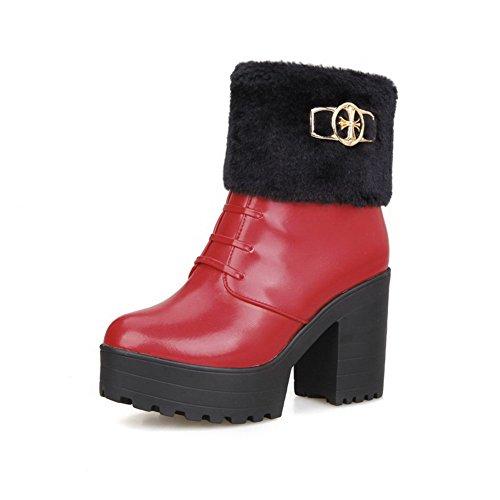 AgooLar Damen Rund Zehe Hoher Absatz Weiches Material Knöchel Hohe Rein Stiefel, Rot, 38