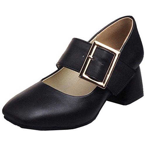 TAOFFEN Damen Classical Blockabsatz Schuhe High Heel Pumps Mit Schnalle  Schwarz