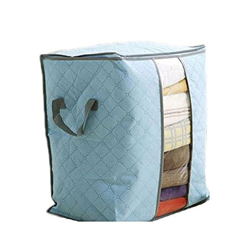 Price comparison product image LHWY Large Clothes Bedding Duvet Zipped Pillows Non Woven Storage Bag Box (48*28*50, Blue)