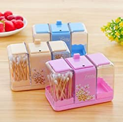Glives Toothpick Cotton Swab Package Holder Double Slider Storage Box