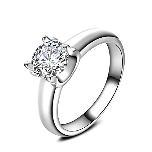 Skyllc Frauen Personalisierte Modeschmuck Simulierte Diamant Runde Kissen Cut Halo Versprechen Ring (Halo Diamant Versprechen Ringe)