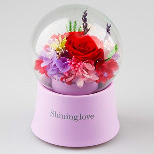 Boîte de cadeau de musique,Fleur éternelle Boule de cristal de rose Ornements de verre Une rose qui peut tourner Fleurs Créatif Le jour de noël-F 12x17cm(5x7inch)