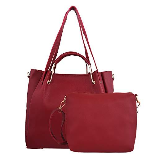 Bailey Women\'s PU Leather Handbag and Sling Bag Combo (Wine)