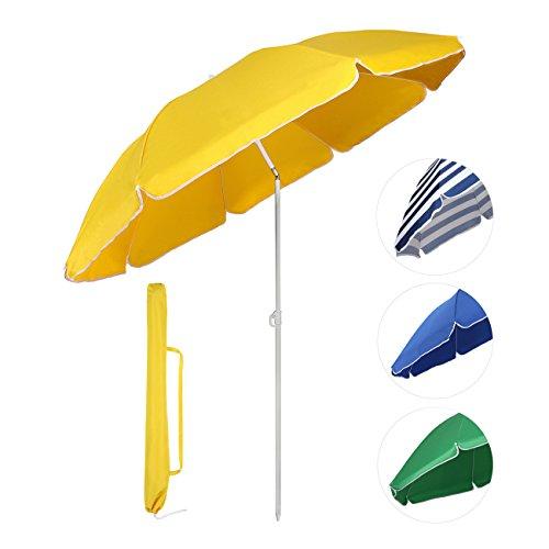 Sekey® Sombrilla Ø 160 cm parasol para terraza jardín playa balcón piscina patio , color amarillo , protector solar UV20+