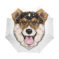 Jeansame Cute Puppy Dog Emoji Winter Snowflakes Folding Compact Umbrella Automatic Sun Rain Umbrellas for Women Men Kid Boy Girl