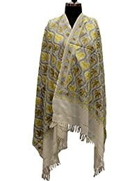 [Sponsored]Off White & Silver With Gold & Brown Chinar Leaves Pashmina Kashmiri Stole/Shawl