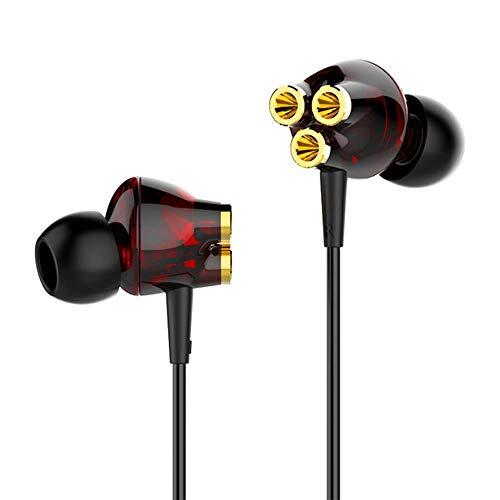 Wired écouteurs, écouteurs filaires, In-Ear Universal, Trois-action, casque-fil contrôlé, caisson de basses, téléphone portable casque, mode filaire, Convient pour ordinateur Téléphone unique,Blackred