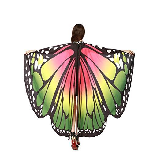 Kostüm Flügel Schmetterling - EDOTON Schmetterlingsflügel für Frauen, Nymphe Pixie Kostüm Zubehör Schals Party Cosplay Tanzkostüm (Heißes pink & grün)