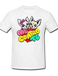 mimoma T-Shirt Maglietta Maglia Me Contro Te Cuore 100% Poliestere Lavabile in Lavatrice