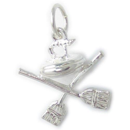 Curling pietra e pennelli Ciondolo in argento