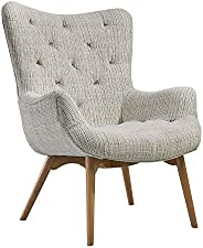Home Canvas PACO Mid Century Chair [White] Fabric Armchair with Solid Wood Legs - Curved Back Tufted Chair | C