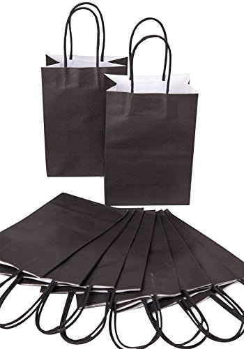 nke Papier Tütchen Premium Geschenktüte , 20 stück DIKETE Tragetaschen Geschenkbeutel Partytüten mit Griffen - 14x8x20 cm schwarz (Halloween-süßigkeiten Diy)