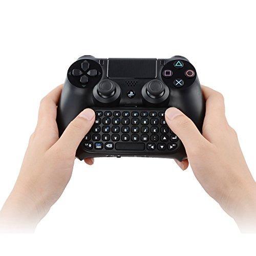 Megadream® Mini-Chatpad, wiederaufladbar, kabellos, Bluetooth, Textnachrichten-Tastatur, Gamepad, Gaming-Tastatur, Live-Voice-Chat Online, Tastatur mit 3,5-mm-Audioanschluss für Headset, für Sony PlayStation 4,für PS4Dualshock-Controller, schwarz (deutsches Layout nicht garantiert)