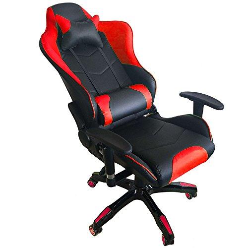 MCTECH® Racing Sportsitz Gaming Stuhl Bürostuhl Schreibtischstuhl, PU Leder Kunstleder Chefsessel, Drehstuhl mit Armlehnen, Ergonomisch Wippfunktion und Höhenverstellbar (Schwarz-rot) - 5
