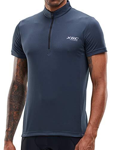 Herren Kurzarm Radtrikot Fahrradtrikot Fahrradbekleidung für Männer mit Elastische Atmungsaktive Schnell Trocknen Stoff 1-2er Packung (Grey, XXL)