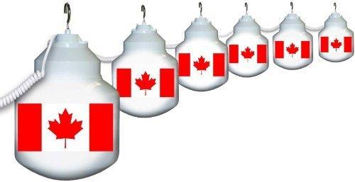 1601-CANADA Canadian Flag Six globe String light Set by Polymer Products LLC (Globe Lights String)