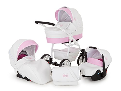 Lux4Kids Kinderwagen Set Babywanne Sportsitz Babyschale Wickeltasche Matratze 3in1 VIP Luxus Made in EU Easy One Weiß & Rosa