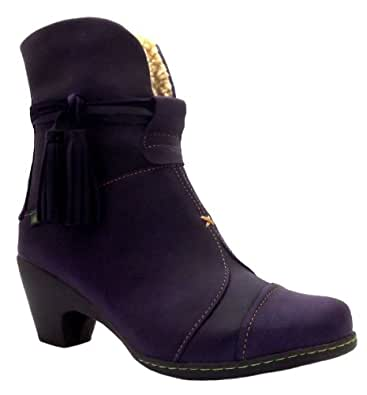 Size 8 El Naturalista Women's N861 Lila Purple Warm Lined Leather Ankle Boots
