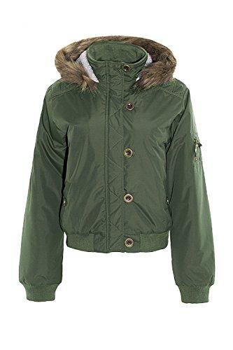 Damen Jacke Brave Soul Damen-mantel Gepolstert Sherpa-fleece Kapuze Bomber Winter Khaki - JOHNSON