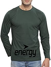 Clifton Mens FB Printed Full Sleeve R-Neck T-Shirt-Bottle Green-Black Energy