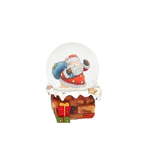 Kleine Schneekugel mit Weihnachtsmann auf Schornstein, L/B/H 7 x 7 x 9 cm Kugel Ø 6,5 cm.