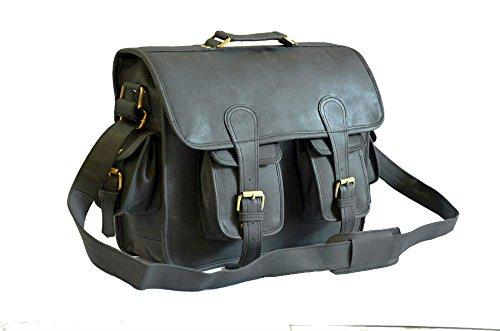 Vintage Leather DSLR Camera Bag 15.6-Inch Laptop Briefcase; Shoulder Bag Messenger Satchel Fits Professional Size DSLR with Lens for Canon Nikon Sony