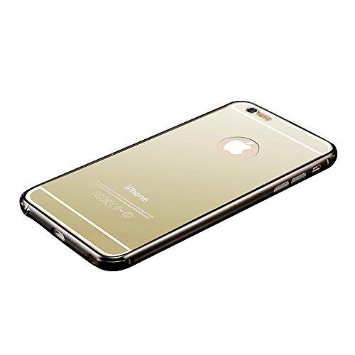 fenrad Oro Lusso Ultra-Slim Alluminio Metallo Specchio Back Cover Bumper Mirror Case Custodia Skin per Apple iPhone 6 4.7 pollici--Oro Nero