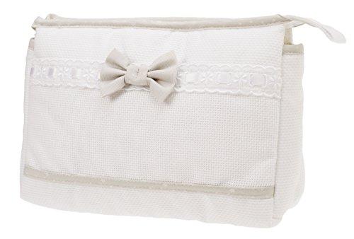 Filet - busta con cerniera i trousse da viaggio i in tela aida da ricamare i prodotto realizzato in italia - bianco, beige