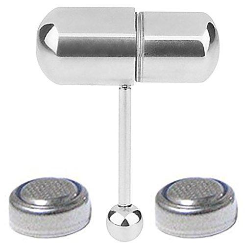 CrazyPiercing Silber Farbe vibrierende Zunge Ring Edelstahl Body Piercing mit 2Batterien (Männer Zunge Ringe)