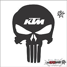 "'KTM Calavera 20cm Tuning Pegatinas' + Bonus Pegatina de prueba ""Estrel Lina de suerte Tern®"", instrucciones de montaje de ""myrockshirt® impresa"