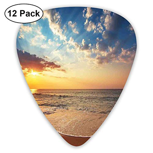 Celluloid Guitar Picks - 12 Pack,Abstract Art Colorful Designs,Cloudscape Over The Sea Honeymoon Travel Destination Sunrise Panoramic Shot,For Bass Electric & Acoustic Guitars.