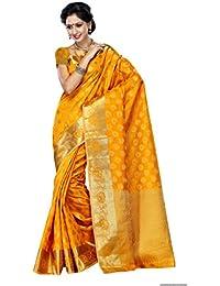 Mimosa Women's Tussar Silk Zari Work Saree With Blouse Piece - 179-MGLD_Mango Gold_Free Size