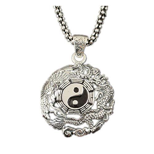 ChuangYing S925 Sterling Silber Collier DIY Drachen und Phönix Chengxiang Taiji Klatsch Halskette -