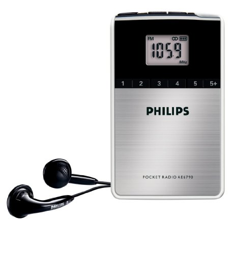 Philips AE6790/00 - Radio de bolsillo sintonizador FM/OM, reloj integrado, color negro