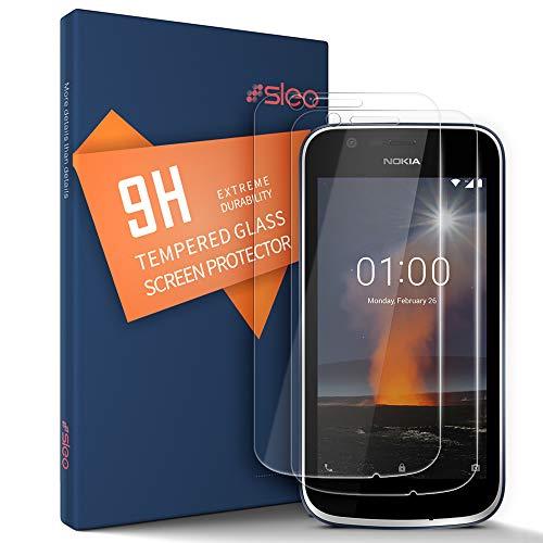SLEO Panzerglas Schutzfolie für Nokia 1,Transparent Folie Panzerglasfolie mit [Anti-Kratz] HD Displayfolie 9H Härte Kratzfest Tempered Glas für Nokia 1 - [2 Stück]