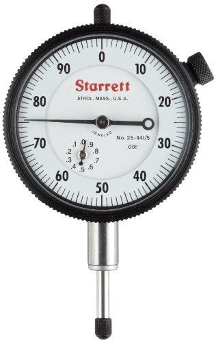 """Starrett 25-441/5J quadrante indicatore, 0,95 (0,375 cm diametro stelo, fori sul retro, al centro del quadrante bianco, 0-100 leggere, 0-1,27 cm (0,5"""") gamma 0,00 (0,001 laurea cm"""